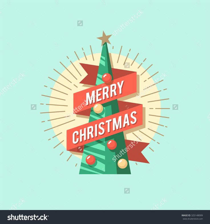 Christmas card. Christmas tree. Vector flat illustration.