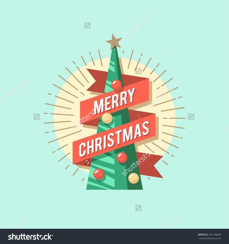 Christmas card. Christmas tree. Vector flat illustration.