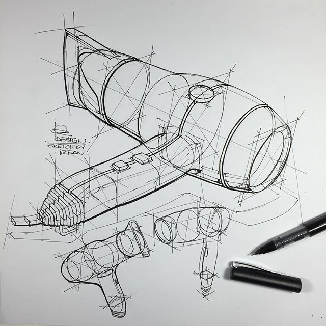 ⠀⠀⠀⠀⠀⠀⠀⠀⠀i r f a n c i f t c i - Product Design Sketch , hair dryer technical exercises.. Pen; faber castell roller