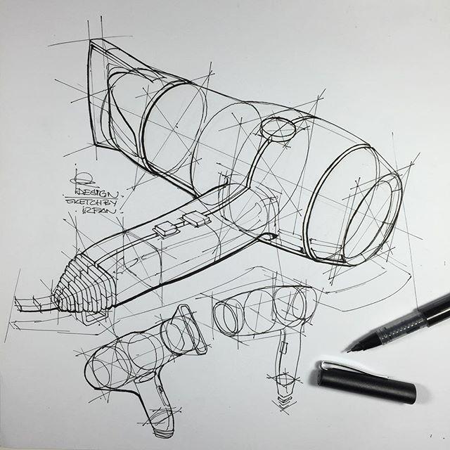 ⠀⠀⠀⠀⠀⠀⠀⠀⠀i r f a n c i f t c i - Product Design Sketch , hair dryer technical exercises.. Pen; faber castell roller