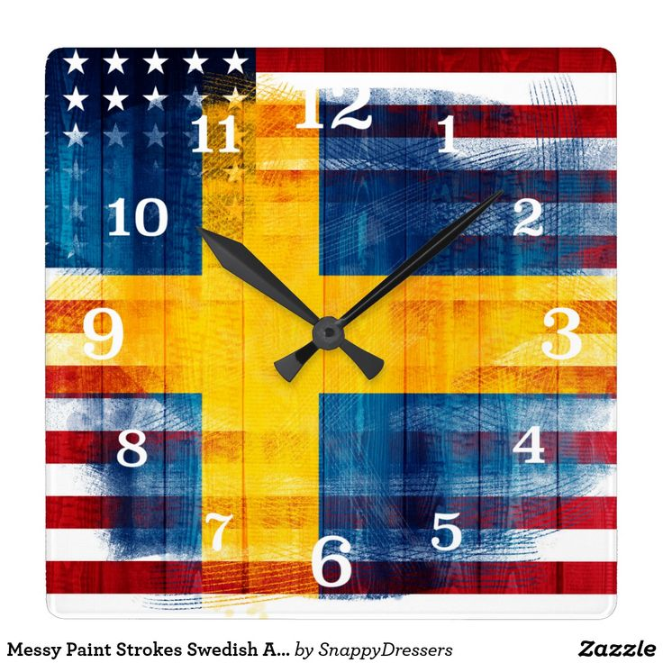 Messy Paint Strokes Swedish American Flag Square Wall Clock -- Cool square wall clock with a Swedish American fusion design featuring a print of the American flag and the Swedish Flag merged together in a messy brush stroke design, with white numbers.