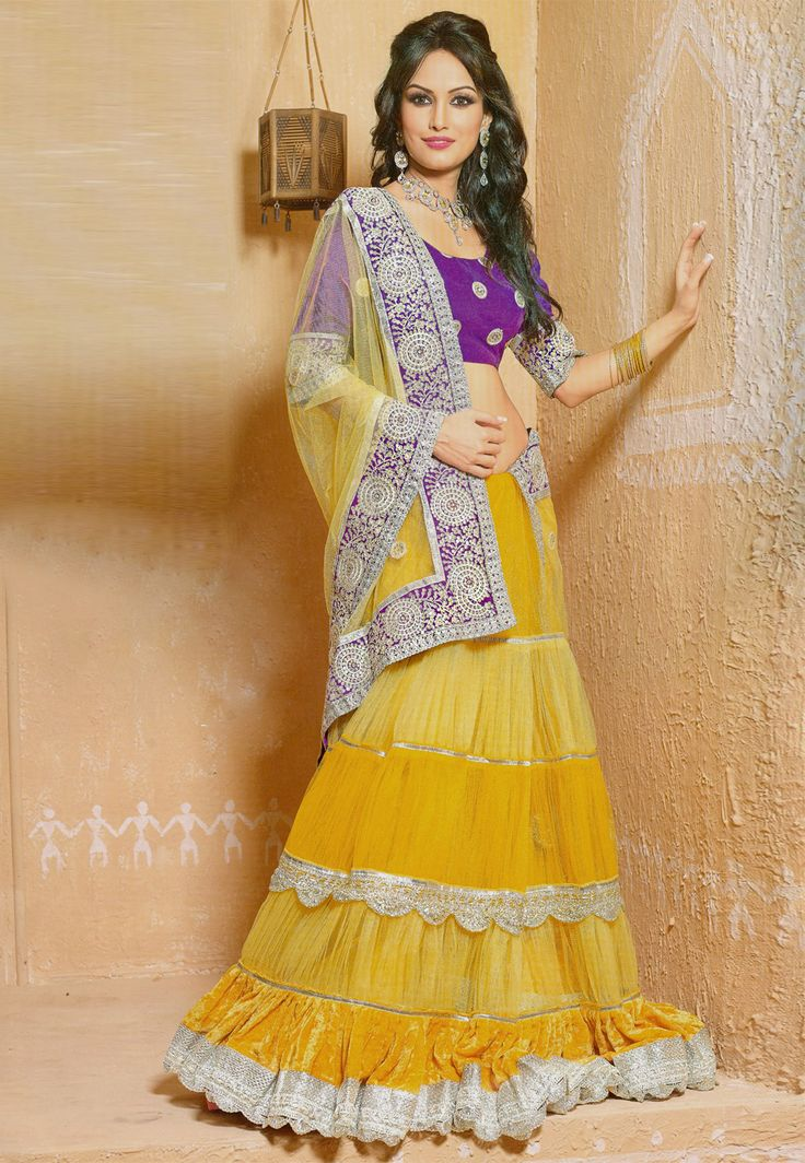 #Yellow Net #Lehenga #Choli with Dupatta @ $160.98