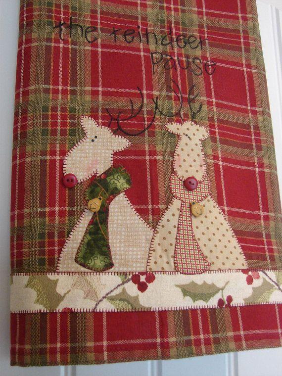 Tea Towel Reindeer Pause  Homespun Style  by TwoGirlsLaughing, $24.00