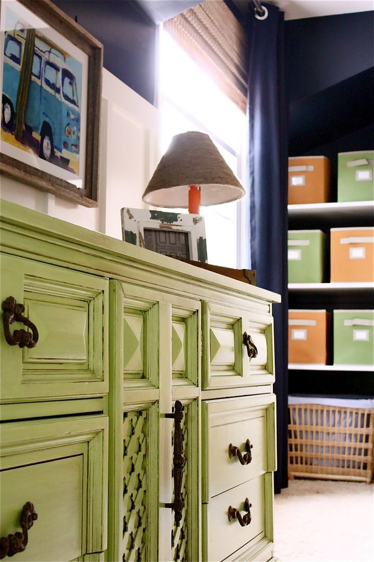I am so in love with this color scheme for a boys room!   The Yellow Cape Cod: Fantastic Kids Dresser Makeover Tutorial