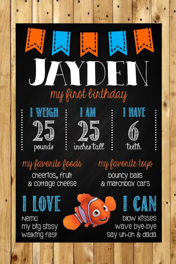 Finding Nemo 1st Birthday Chalkboard Poster by MsThirdGrade