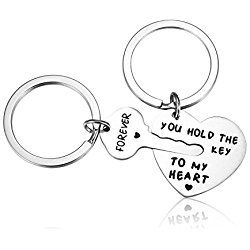 Udobuy New Unique Stainless Steel You Hold The Key To My Heart Couple Keychain Love Keychain Key Ring Valentine Gift