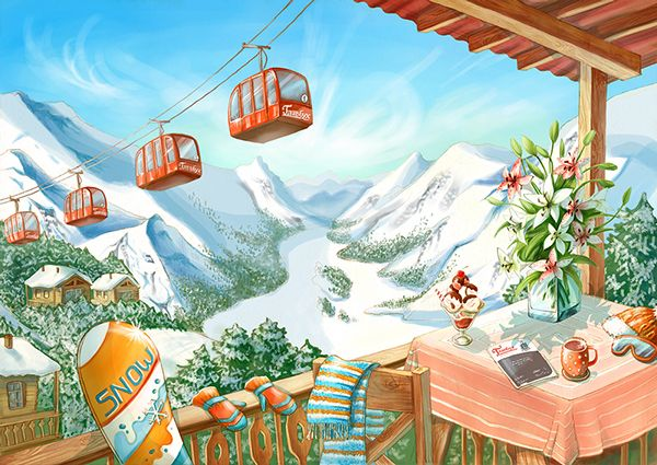 Ski resort in the Alps #Sun #Mountain #ski #cableway #skateboard #tea #coffee