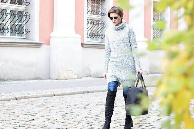 zimowa stylizacja, porady stylistki, blog, blogerka, szary golf, sukienka z golfem, buty za kolano, duza torebka, codzienna stylizacja, stylistka radzi, na co dzień, styl blogerki, po 30 tce, blog dla kobiet,