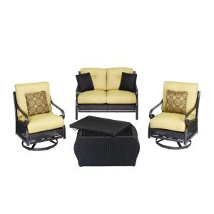 Martha Stewart Living Cedar Island 4 Piece All Weather Wicker Patio Seating  Set With Beige Cushions DISCONTINUED