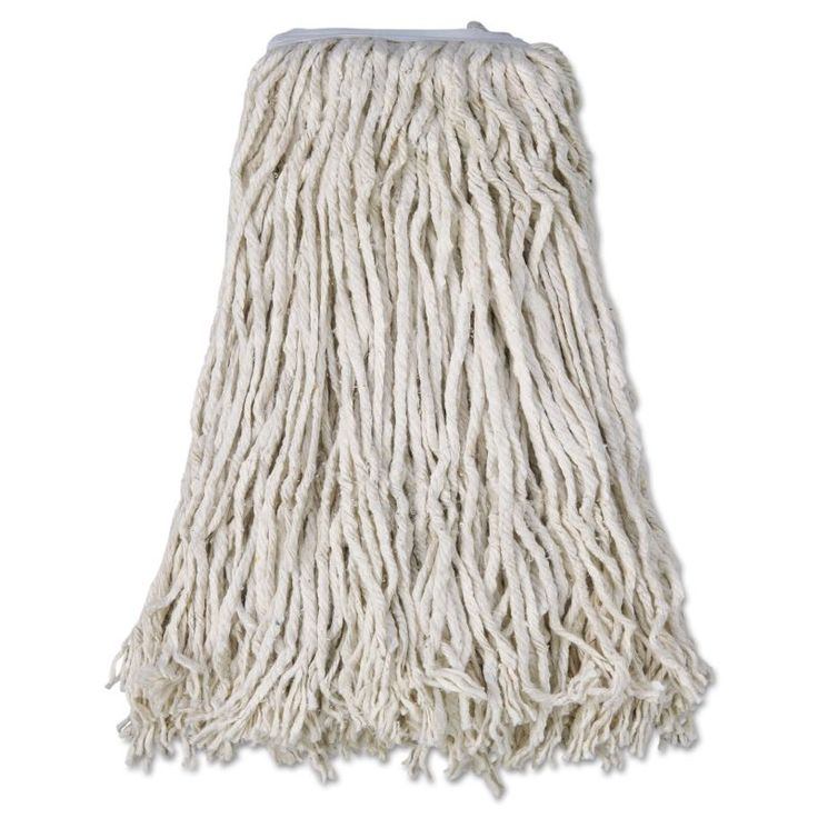 Boardwalk BWKCM02032S Mop Head Cotton Cut-End White 4-Ply #32 Band 12 Count White Janitorial Supplies Cleaning Tools Mop Heads