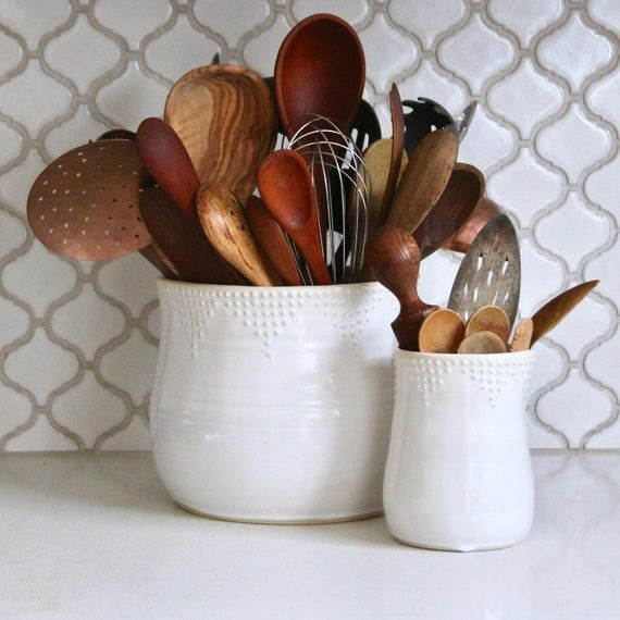 Jumbo Size Kitchen Utensil Holder White Green Blue Red Etsy Kitchen Utensil Holder Farmhouse Kitchen Decor Rustic Farmhouse Kitchen