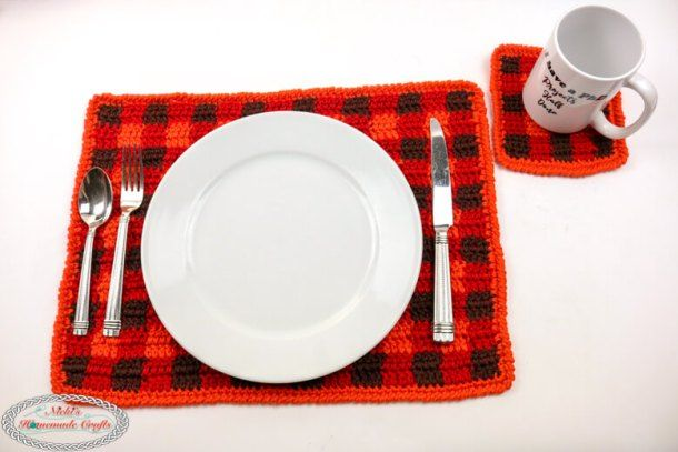 How To Crochet A Simple Plaid Coaster Free Pattern Crochet Coaster Pattern Crochet Coasters Free Pattern Crochet Coasters