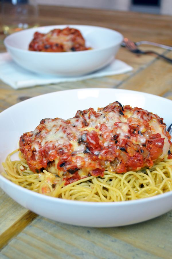 Brazilian style Chicken Parmigiana (Frango a Parmegiana) with ham and Fontina cheese. My hubby said this was the best version ever!