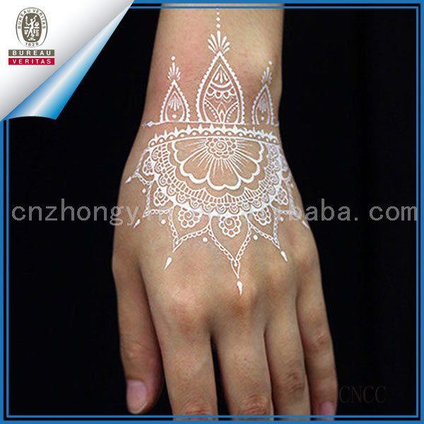 Nupcial conjunto de blanco temporal tatuajes de henna para la mano Mehndi…