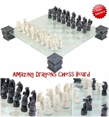 Chess Board Game Glass Set Fantasy Dragon Medievil Age Games Great Gift Xmas