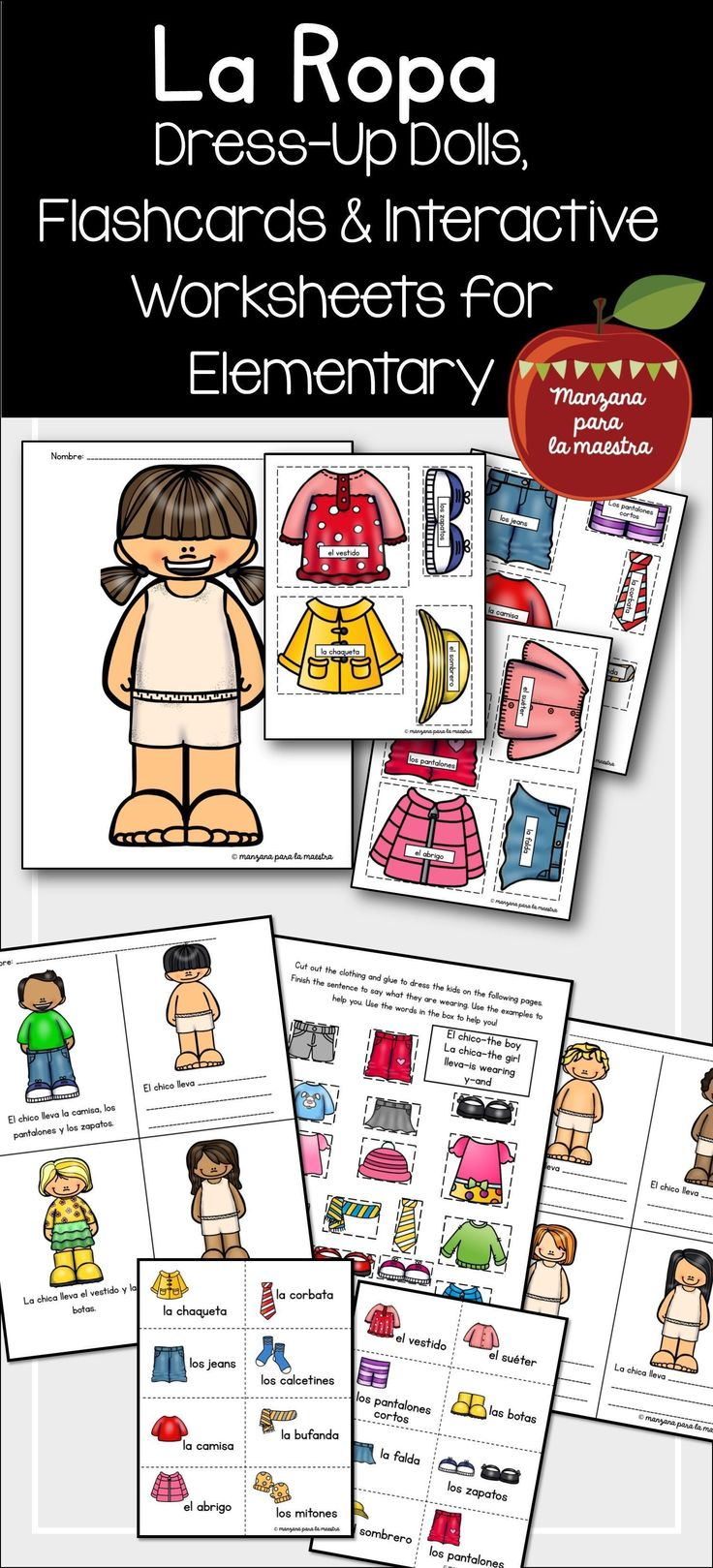 Spanish clothing la ropa homeschool elementary spanish lesson kindergaten interactive notebook worksheet activity lesson #spanishlessonactivities #spanishlessons
