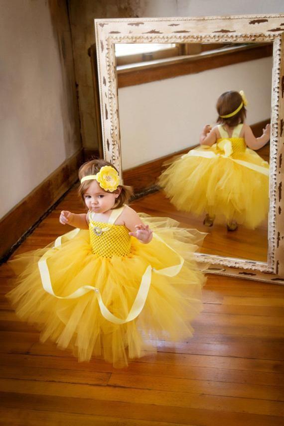 857bf86d5 Disney Princess Belle Halloween Costume Tutu Dress & Headband Set Birthday  Outfit Photo Prop Full Le