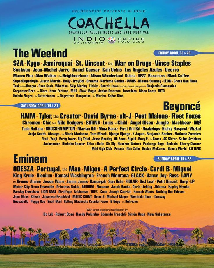 The official lineup for the 2018 Coachella festival was revealed, which features Beyoncé, Eminem and The Weeknd.  Other hit-makers who are scheduled to perform at the desert-set festival include SZA, Vince Staples, HAIM, Post Malone, Migos and Cardi B.  Find Tickets, Parking & Shuttle  http://smarturl.it/coachella18  #Coachella #Beyoncé #Eminem #TheWeeknd #SZA #VinceStaples #HAIM #PostMalone #Migos #CardiB