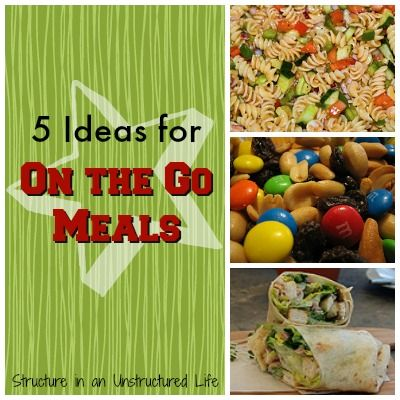 Five Ideas for On the Go Meals http://www.structureinanunstructuredlife.com/2014/05/04/on-the-go-meals/?utm_campaign=coschedule&utm_source=pinterest&utm_medium=Beth%20At%20Structure%20(Yummy%20Dinners)&utm_content=Five%20Ideas%20for%20On%20the%20Go%20Meals