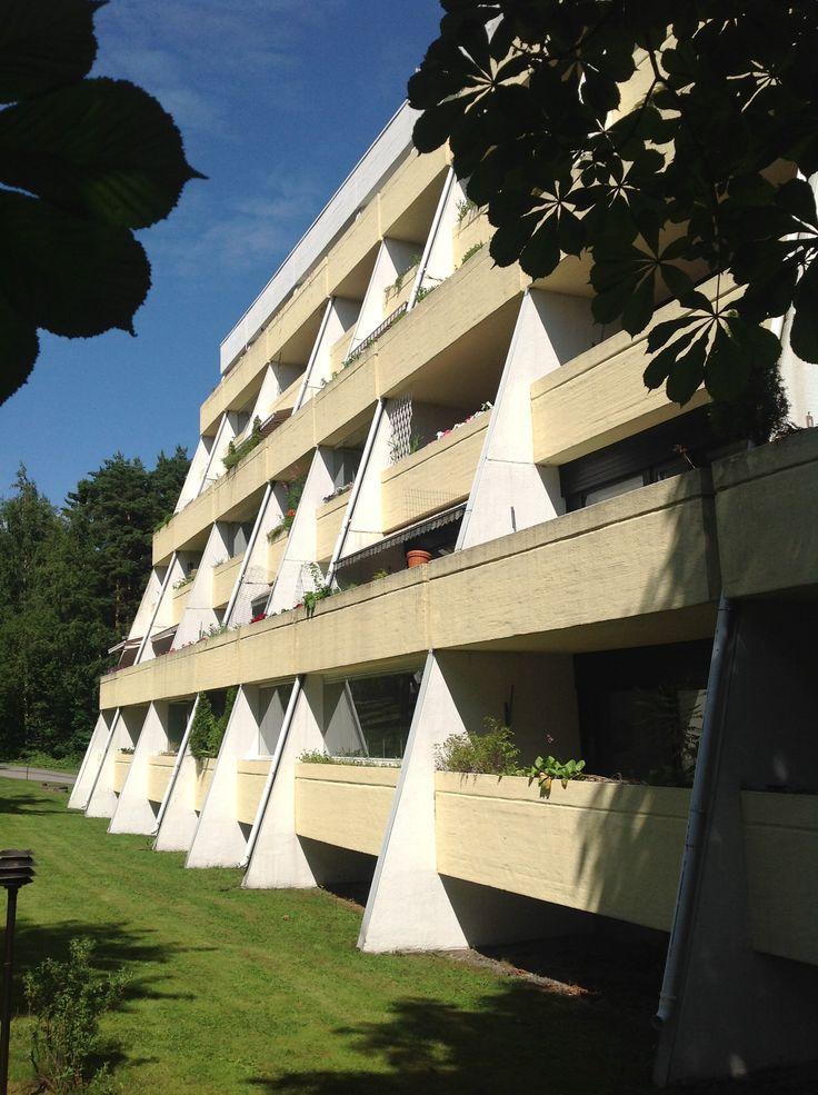 60's houses with big balconies in Vuosaari, Helsinki