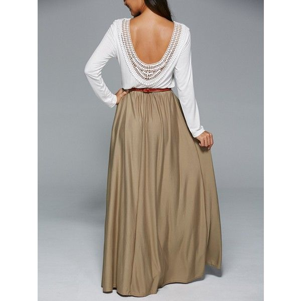 Long Sleeve Splicing Backless Maxi Dress ($19) ❤ liked on Polyvore featuring dresses, long sleeve maxi dress, long-sleeve maxi dresses, longsleeve dress, long sleeve dress and brown maxi dress