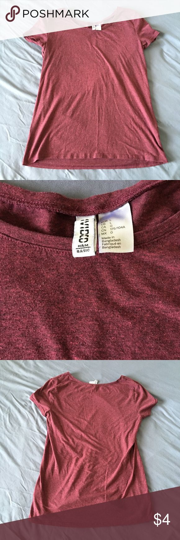 H&M Divided basics tee FINAL SALE: MUST BE GONE BY THE WEEKEND✨✨✨Burgundy basic tee from H&M H&M Tops Tees - Short Sleeve
