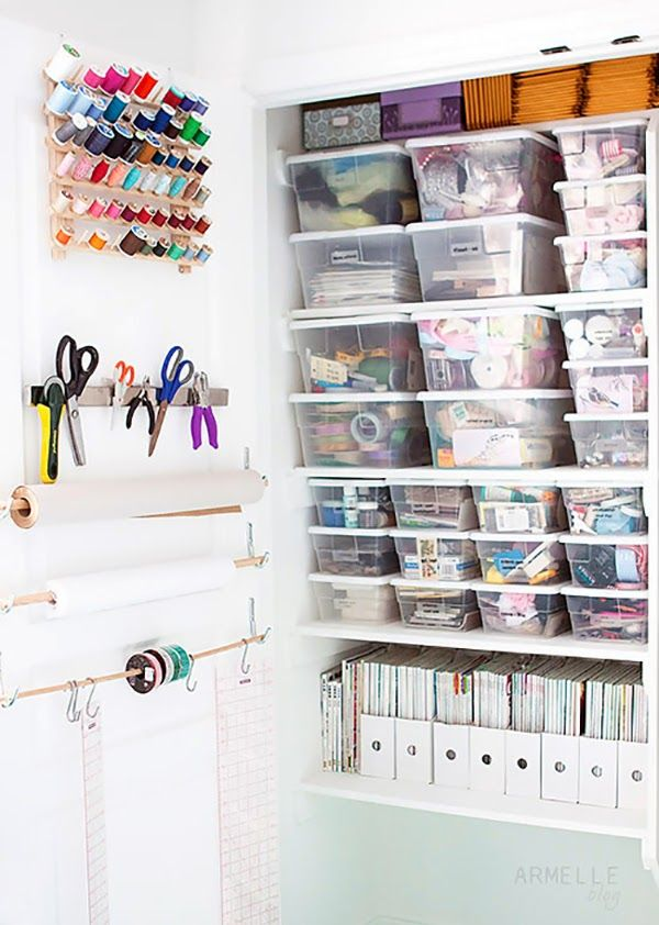 Perfect craft room storage closet! Use containers to store ribbons, trims, tapes and all of your craft supplies in one super organized closet!