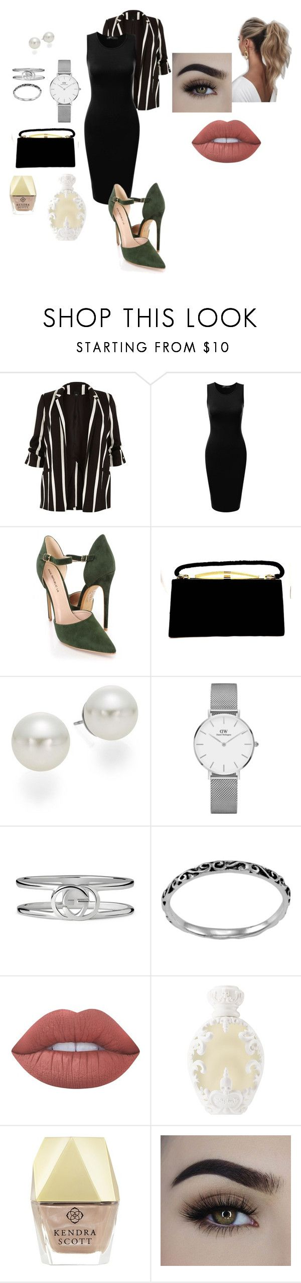 """High end Corporate trendy"" by jeena23 ❤ liked on Polyvore featuring River Island, AK Anne Klein, Daniel Wellington, Gucci, Itsy Bitsy, Lime Crime, Kat Von D, Kendra Scott, Love Couture and Trendy"