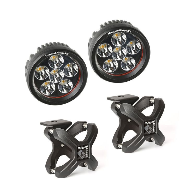 X-Clamp and Round LED Light Kit, Small, Textured Black, 2 Pieces