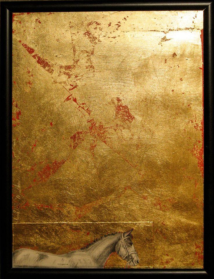 Cal pe camp de aur. gravura si schlagmetal