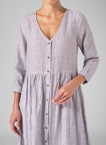 Linen Vertical Stripe Long Sleeve Dress Smokey Purple Stripe