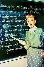 Our Miss Brooks, starring Eve Arden and Gale Gordon.  http://en.wikipedia.org/wiki/Our_Miss_Brooks#