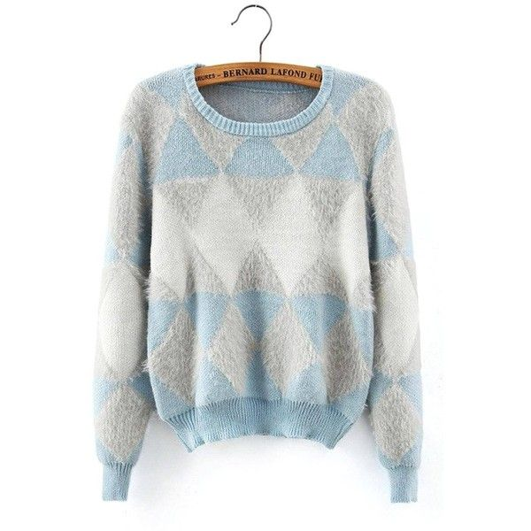 Yoins Yoins Fluffy Diamond Long Sleeve Sweater ($25) ❤ liked on Polyvore featuring tops, sweaters, blue, sweaters & cardigans, blue pullover sweater, blue top, long sleeve pullover, diamond pullover and sweater pullover