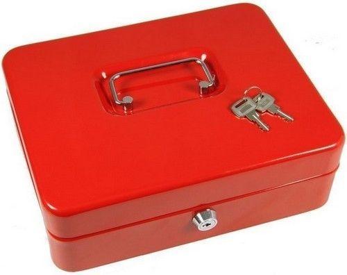Lockable Money Cash Box Metal Red Secure Children Petty Safe Coins Pot With Key #LockableMoneyCashBox