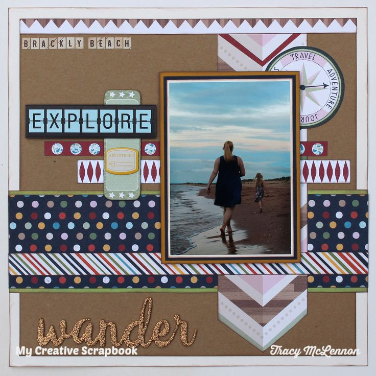 Wander - My Creative Scrapbook- September 2016 Main Kit. American Crafts Shimelle- Go Now Go Collection  Echo Park- Fall is In the Air  Thickers- Let's Go  Heidi Swapp- Wood Veneer