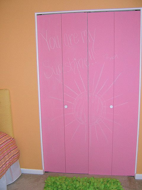 DIY colored chalkboard paint from The Sweet Life. Your teen queen will love it brightening her closet doors.