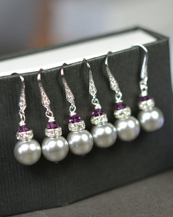 Bridesmaid earrings-Bridesmaid Jewelry -Wedding Party-Wedding Jewelry -Plum purple-eggplant purple-Gray purple wedding pearl-Bridesmaid Gif