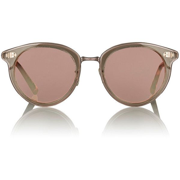Oliver Peoples Women's Spelman Sunglasses ($475) ❤ liked on Polyvore featuring accessories, eyewear, sunglasses, multi, round tortoiseshell sunglasses, vintage tortoise shell sunglasses, round tortoise sunglasses, tortoise shell sunglasses and matte lens sunglasses