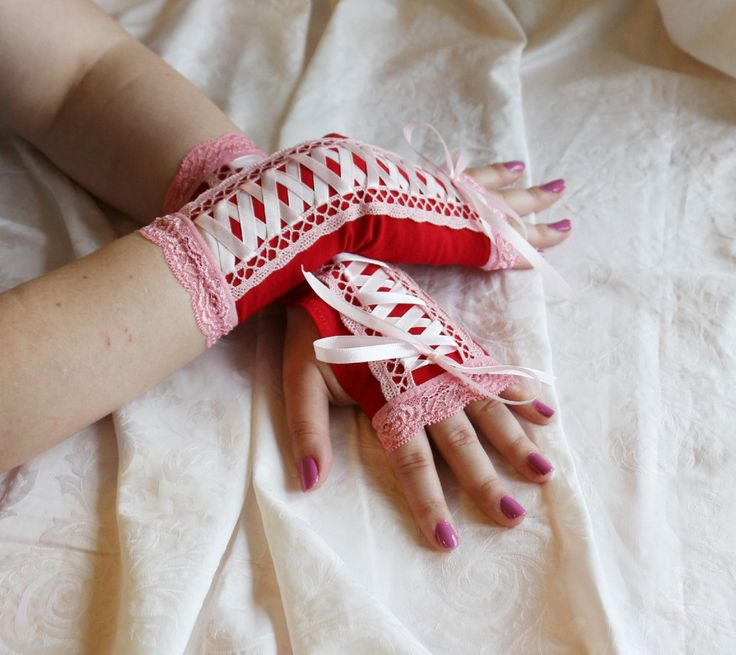 Red-pink laced up lolita armwarmers fingerless gloves by AlicesLittleRabbit on Etsy