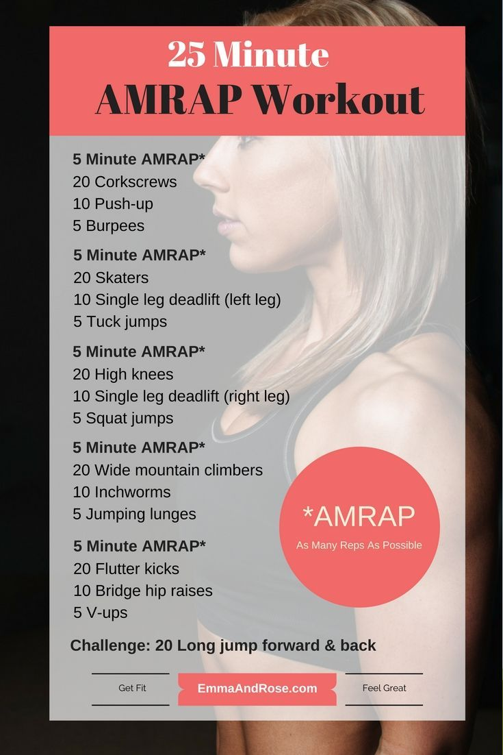 Total body 25 Minute AMRAP (as many reps as possible) Workout - Find more workouts at www.emmaandrose.com. Anyone can do these workouts, whether this is your first time working out or you are coming back from taking a break or you already workout regularly.