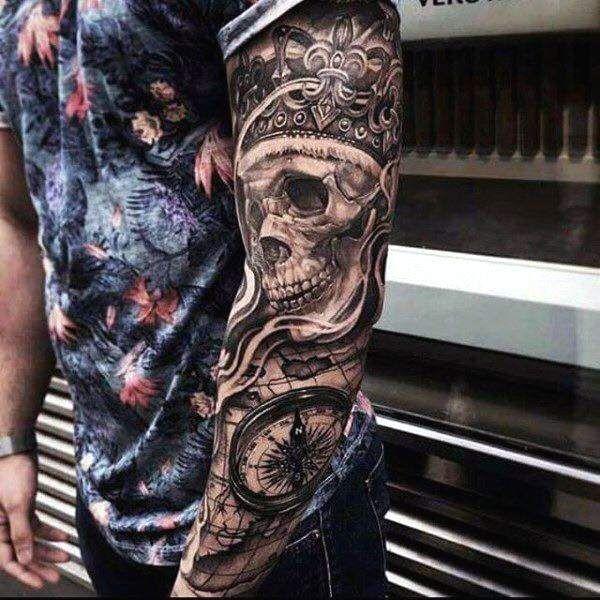 Les 25 meilleures id es de la cat gorie tatouages t te de mort sur pinterest tatouage de sucre - Tatouage trait bras ...
