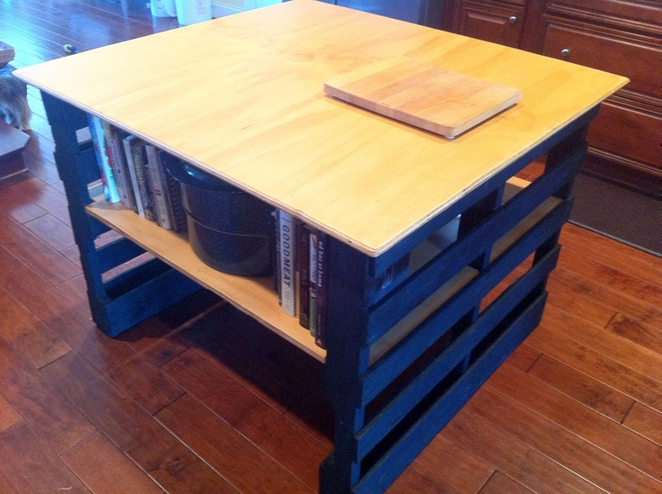 a kitchen island made out of pallets