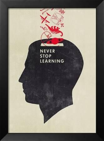 Great art print for the office or classroom! Never Stop Learning Framed Art Print by Hannes Beer at Art.com