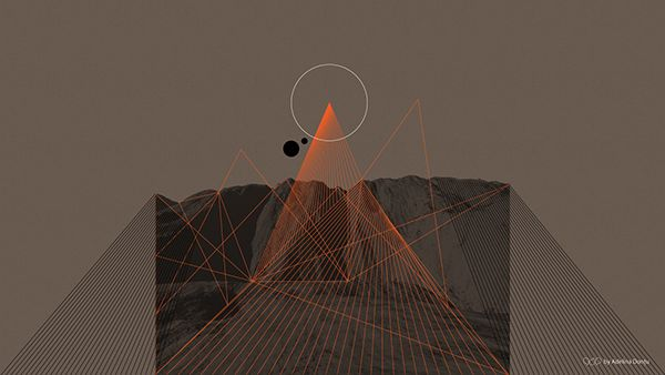 Abstract Wallpaper. Dark, mountain, vector, straight lines, circle, overlay