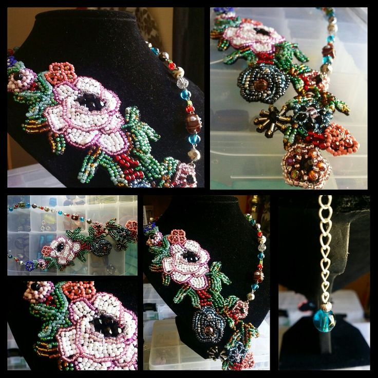 Summer inspired bead embroidered statement necklace 🌺🌻 by Glaetzer Jewellery Kreations