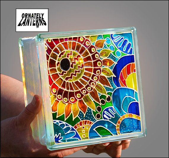 Painted Glass Block / Pop Art Sunflower / Night Light or Sun Catcher / HAND PAINTED & RECYCLED / Decorative Lantern / Garden Ornament