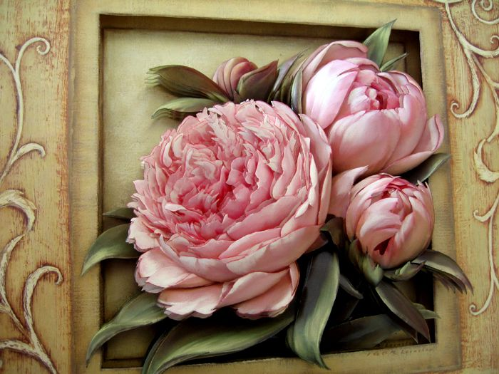 paper tole roses   Pretty In Pink Peonies (L)