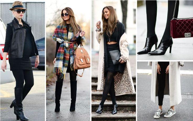 2015 Kış sezonu için siyah tayt ile casual kıyafetler