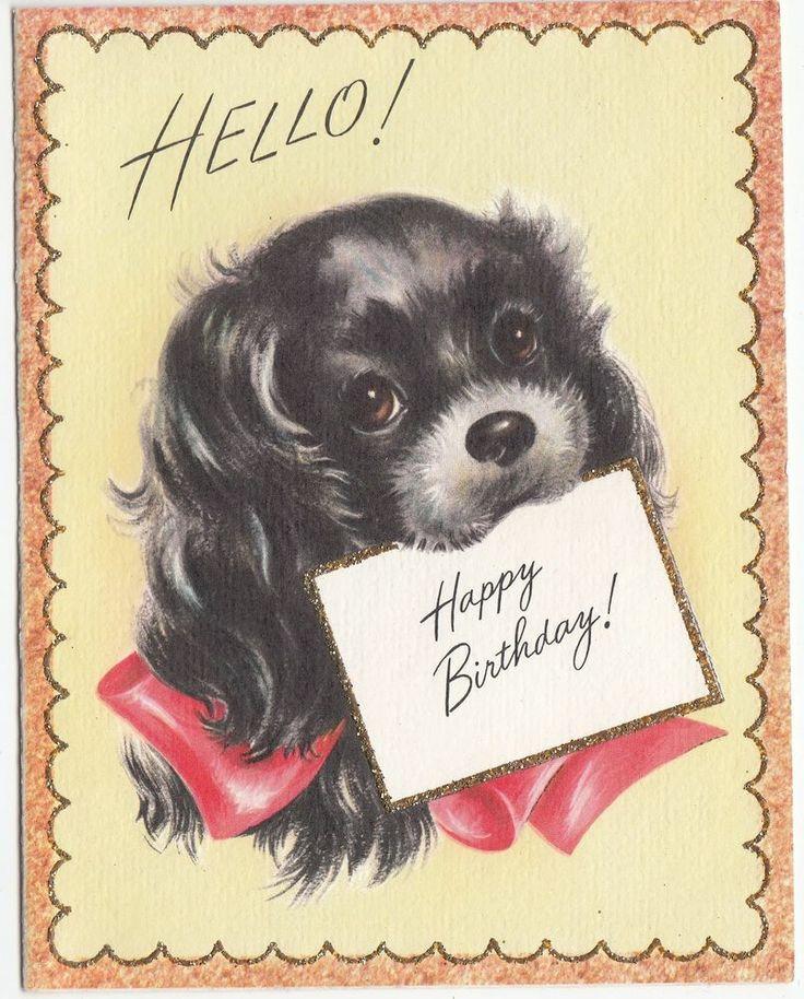 Vintage Glittered Lined Black Dog Birthday Greeting Card