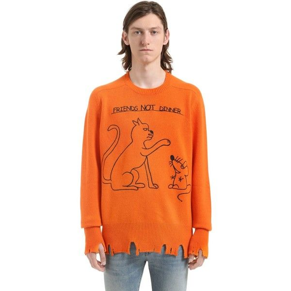 Riccardo - Comi Men Embroidered Cashmere Sweater ($330) ❤ liked on Polyvore featuring men's fashion, men's clothing, men's sweaters, orange, mens cashmere sweaters, mens sweaters, mens orange sweater and mens ripped sweater